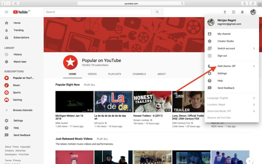 How to Get Dark Mode on Youtube on Computer