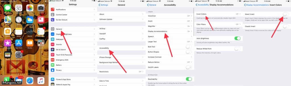 how to set up dark mode on iphone running ios 11