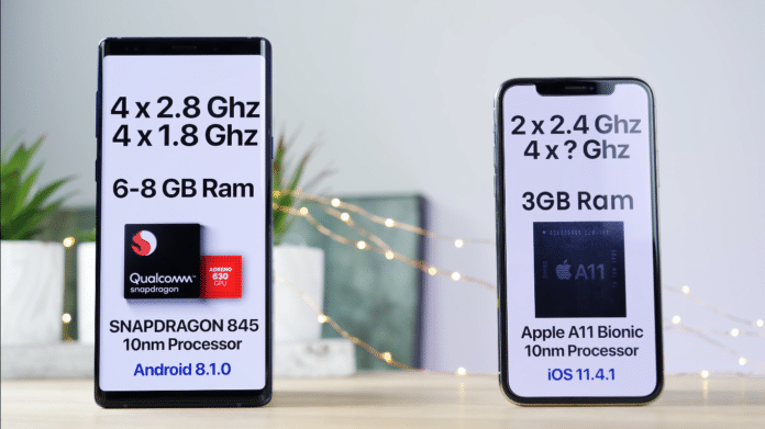 iphone x vs note 9 speed test