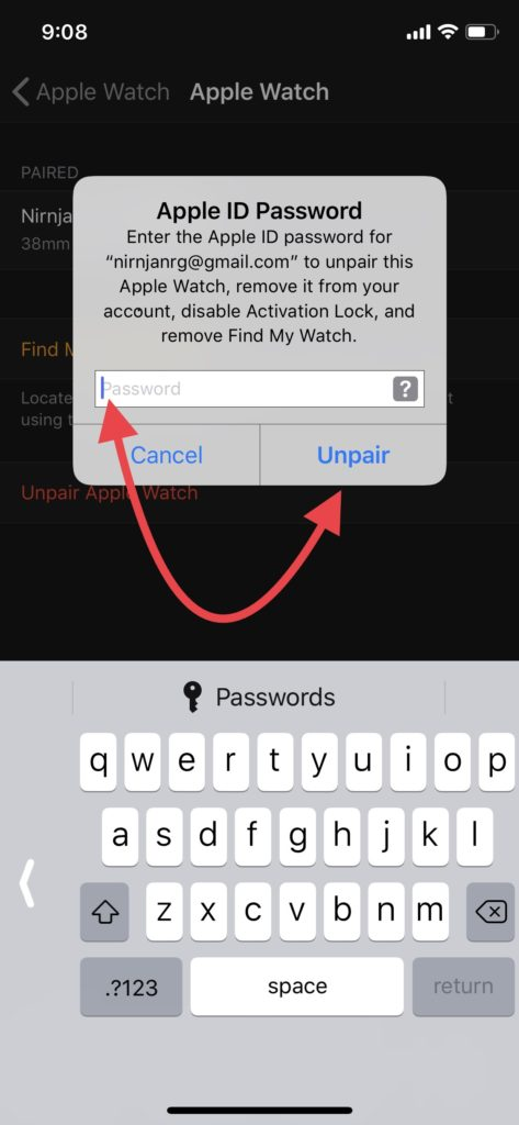 enter_Apple_ID_to_unpair_and_reset_Apple_watch