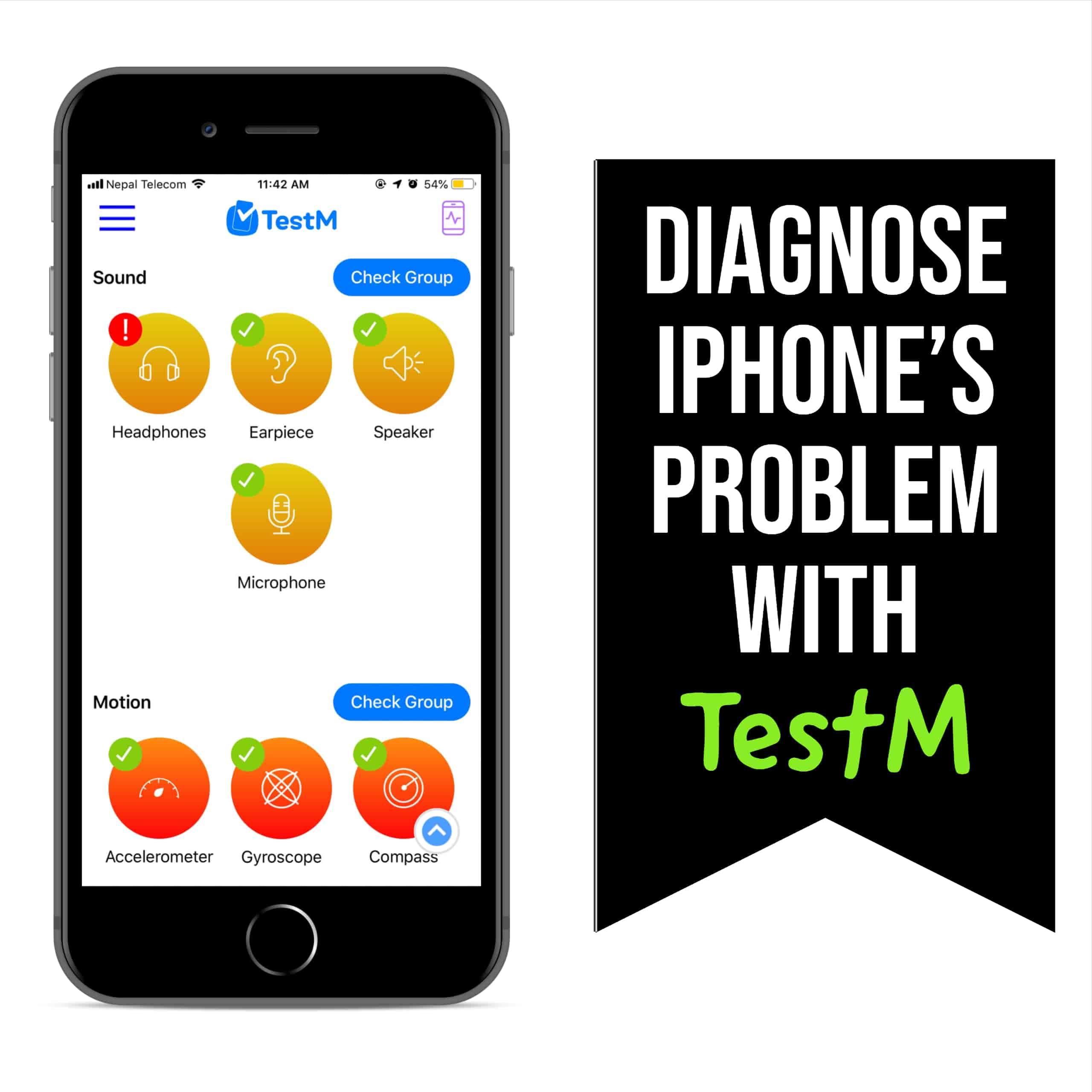 Diagnose iphone problem testm app