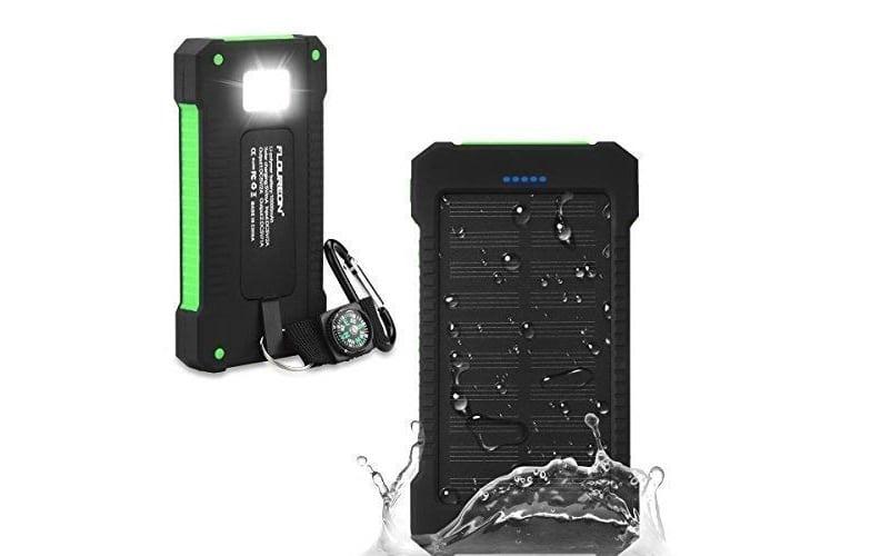 FLOUREON 10,000mAh Solar Power Bank Portable Solar Phone Charger