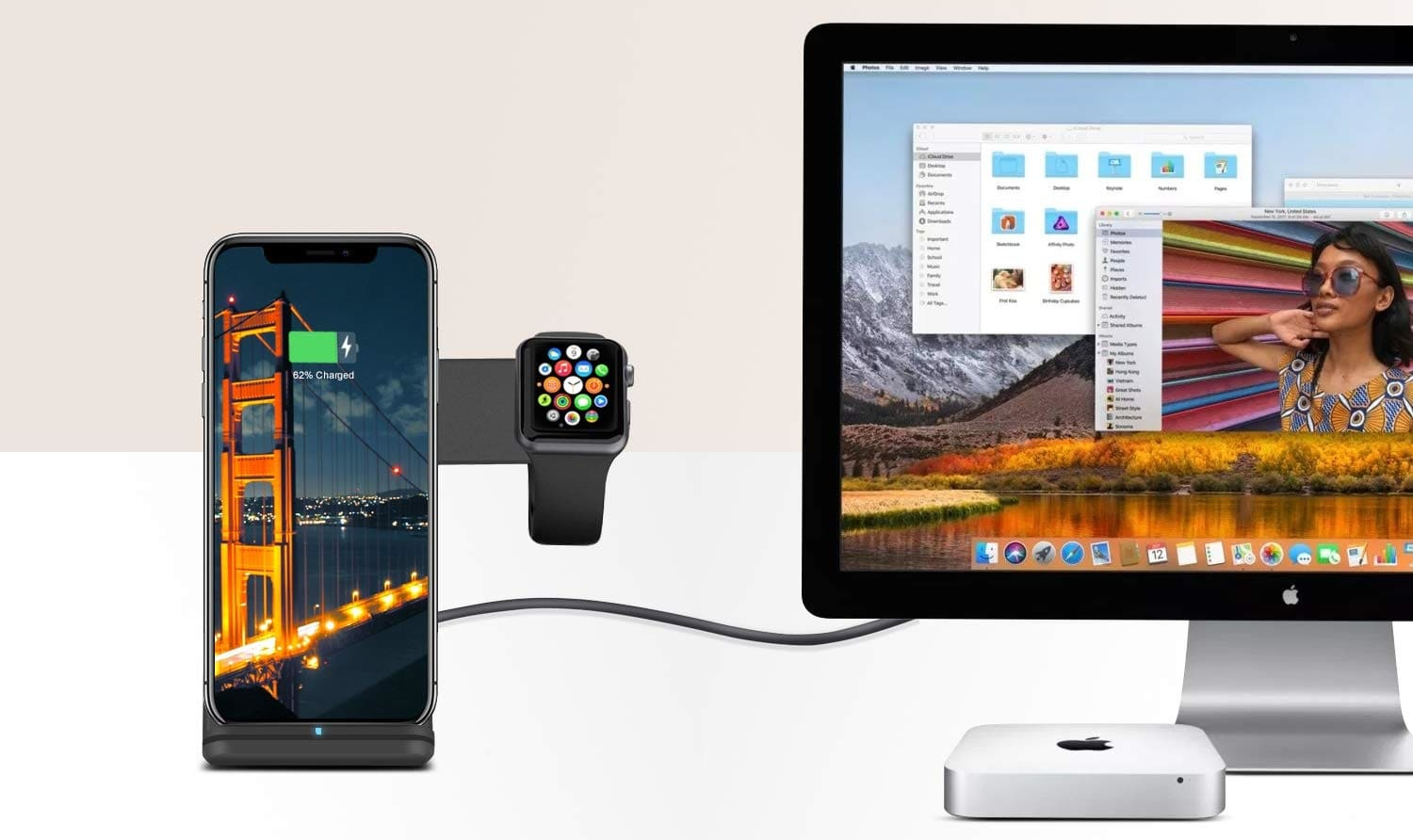 Nerdi 2 in 1 Phone Wireless Charger and Apple Watch Stand Holder-min