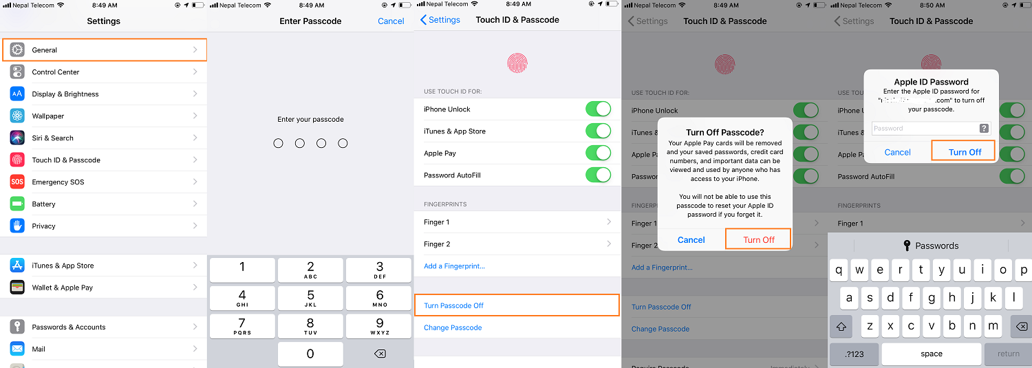 disable passcode on iPhone or iPad