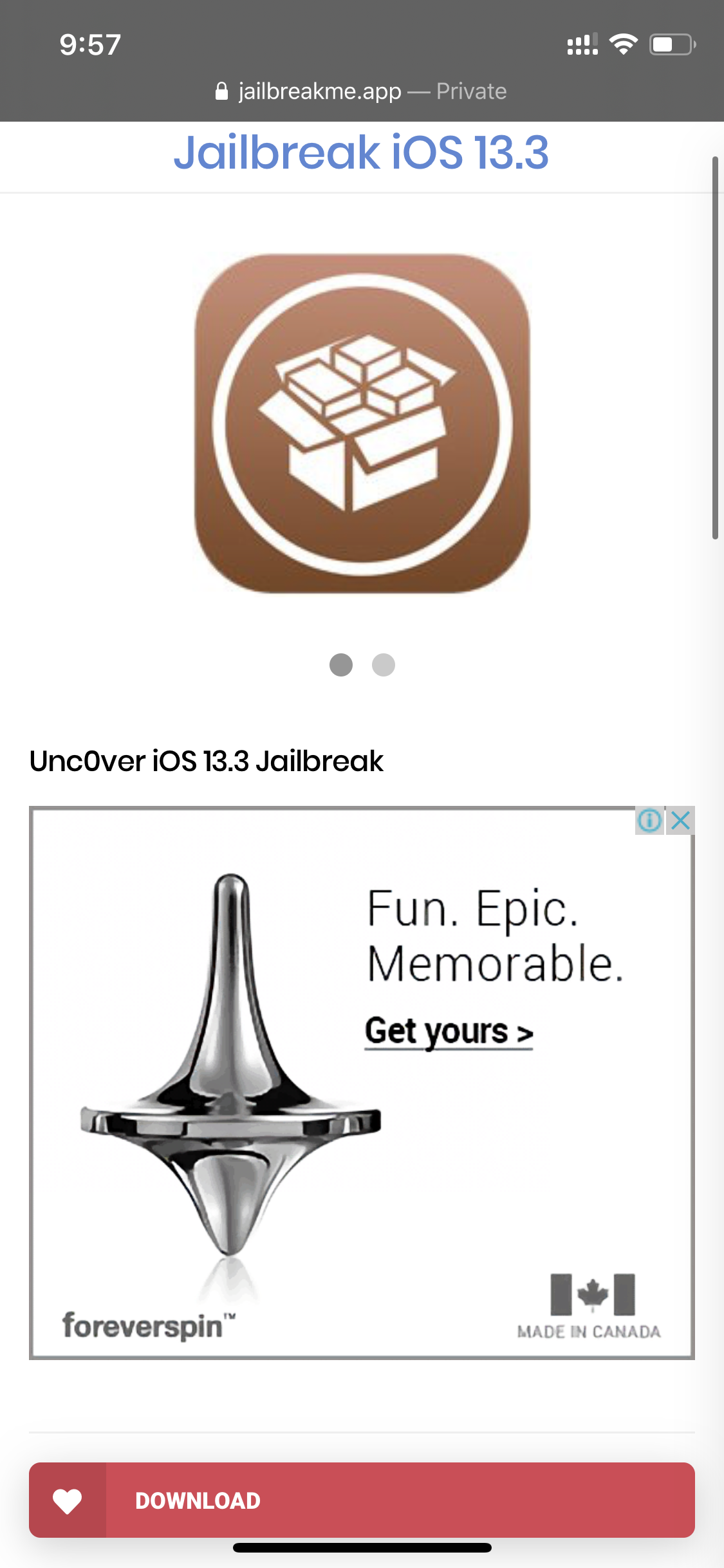 SO after doing all of this, Go to Safari and search URL: https://jailbreakme.app/